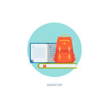 School icon. In circle. Creative concept of education and on-line learning. Flat design, minimalist style, modern colours. Vector illustration for your projects Royalty Free Stock Photography