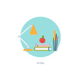 School icon. In circle. Creative concept of education and online learning. Time management. Flat design, minimalist style, modern colours. Vector illustration Royalty Free Stock Photos