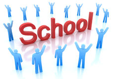 School icon with happy people around Royalty Free Stock Image