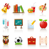 School icon set. Set of 12 glossy school icons Stock Photos