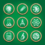 School icon set on chalkboard. Stock Photos