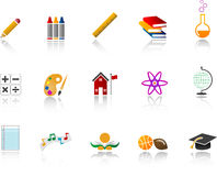 School Icon Set - Color. Set of education and school realted icons. Full color with gradients Royalty Free Stock Photography