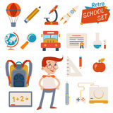 School Icon Set Graphic Designs on White Stock Photos