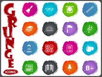 School icon set in grunge style Royalty Free Stock Photography