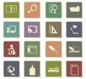 School icon set. School  icons for user interface design Stock Photos