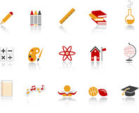 School Icon Set - Red. Set of education and school realted icons Stock Photography