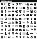 100 school icon set, simple style. 100 school icon set. Simple set of 100 school icons for web design isolated on white background royalty free illustration