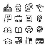 School icon set in thin line style icon vector illustration. School icon set in thin line style vector illustration Royalty Free Stock Photography