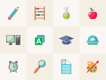 School icon set. Vector illustration of a school in a flat style Royalty Free Stock Photos