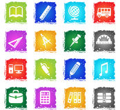 School icon set. School web icons in grunge style for user interface design Royalty Free Illustration
