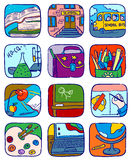 School icons. Doodle school icons set,  illustration Stock Images