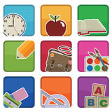 School icons. Bright school icons with motifs, with clipping masks Stock Image
