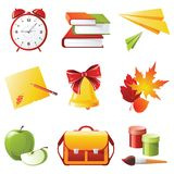 School icons. 9 colorful highly detailed school icons Royalty Free Stock Image