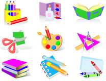 School icons. Everything for the new school season Royalty Free Stock Image