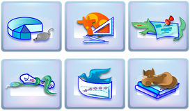 School icons. Vector illustrations for using of any educational propety, also for children website royalty free illustration