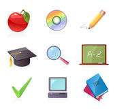 School icons. Set of colorful school icons Royalty Free Stock Photography