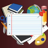 School icons. On abstract red background Stock Photography