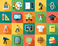 School icons. Big vector collection of colorful school icons. Flat style with long shadows royalty free illustration