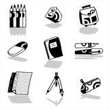 School icons black Royalty Free Stock Image