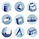 School icons blue Stock Images