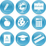 School icons on blue balls. School and education icons set Royalty Free Stock Image