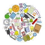School icons card. Objects used by a student Royalty Free Stock Photo