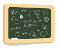 School icons on chalkboard Royalty Free Stock Photography