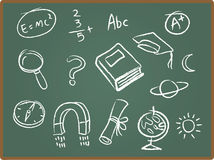 School Icons on ChalkBoard. Illustration Set of school icons on chalkboard Stock Images