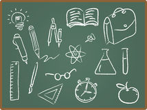 School Icons on ChalkBoard Royalty Free Stock Photos