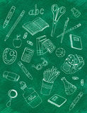 School icons on chalkboard Stock Image