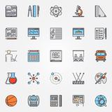 School icons colorful set. School icons set - vector colorful education symbols. Education and science signs for your design Vector Illustration