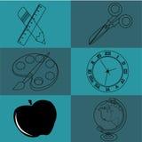 School icons. On dark o light blue squares Stock Image