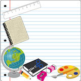 School icons. Different school icons on abstract paper background Royalty Free Stock Photo