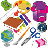 School icons. Different school icons on white background Royalty Free Stock Photos