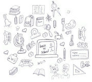 School icons doodle Royalty Free Stock Photos