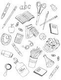 School icons drawings stock photography