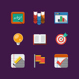 School icons. Flat Royalty Free Stock Images
