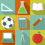 School icons. Flat icons with various school supplies Stock Image