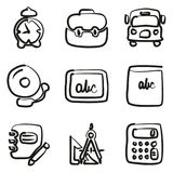 School Icons Freehand. This image is a vector illustration and can be scaled to any size without loss of resolution stock illustration