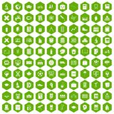 100 school icons hexagon green. 100 school icons set in green hexagon isolated vector illustration Royalty Free Stock Photos