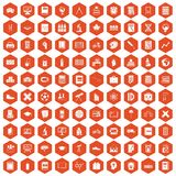 100 school icons hexagon orange. 100 school icons set in orange hexagon isolated vector illustration Royalty Free Stock Photo