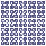 100 school icons hexagon purple Royalty Free Stock Image