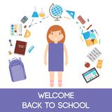 School icons illustration Stock Photos