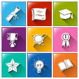 School icons. Illustration of the school icons on a white background Royalty Free Stock Image