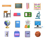 School icons and objects. Vector set of school icons and objects Royalty Free Stock Photos