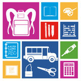 School icons. Over white background vector illustration Stock Photos