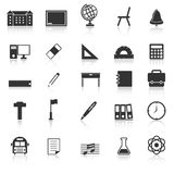 School icons with reflect on white background Royalty Free Stock Images