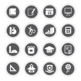School icons, round buttons. Set of 16 school icons, round buttons stock illustration