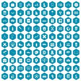 100 school icons sapphirine violet. 100 school icons set in sapphirine hexagon isolated vector illustration stock illustration
