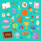 School icons seamless pattern background vector. Stock Photos